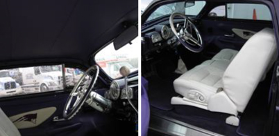 purple car interior exterior
